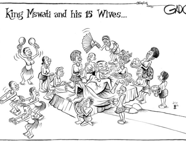 King Mswati and his 15 wives