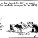 While we bend towards the EAST we should know that our backs are exposed to the WEST