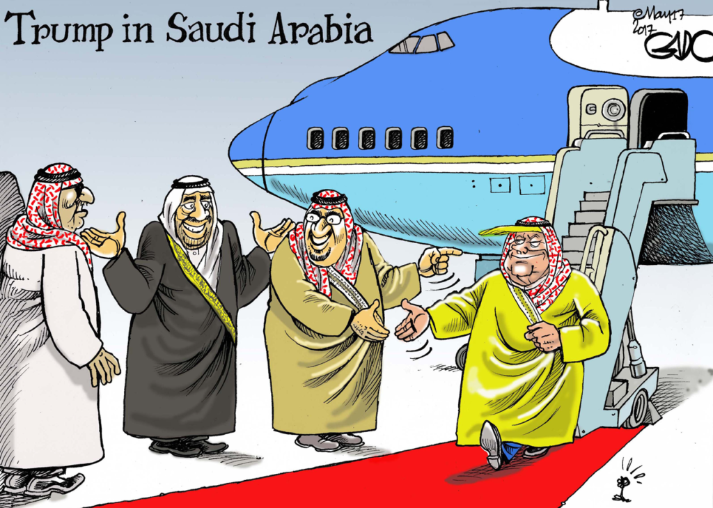 Image result for cartoons about trump and saudi arabia