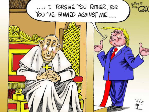 Trump at the Confession with Pope